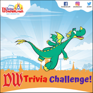 Mayhem flying over an illustration of the castle. DW Trivia Challenge Sweepstakes is written at the bottom and the Dutch Wonderland logo is in the top left. The top right has Dutch Wonderland's Facebook, Instagram, & Twitter handles.