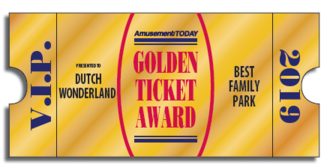 Golden Ticket Award - Best Family Park of 2019 Dutch Wonderland