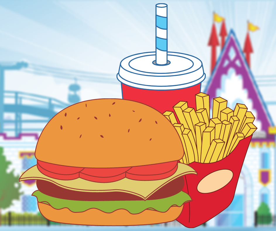 Illustration of burger, fries, and soft drink