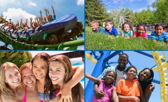Grid of 4 photos:people riding coaster, children laying in the grass, four girls smiling, and family smiling in front of coaster