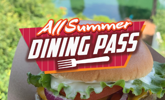 All Season Dining Pass Logo in front of a burger