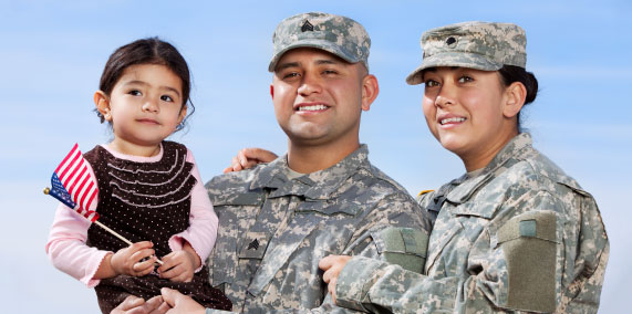 Military family holding American flag