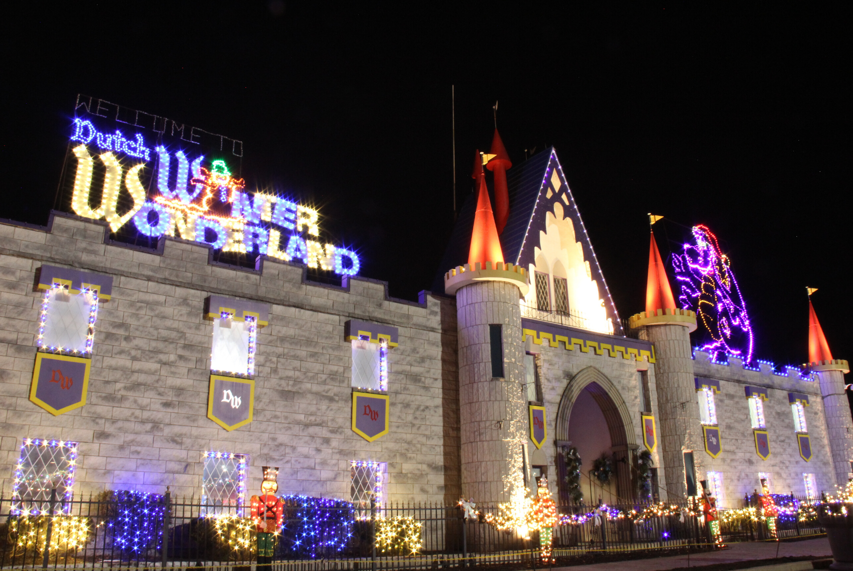 Dutch Wonderland Castle covered in lights