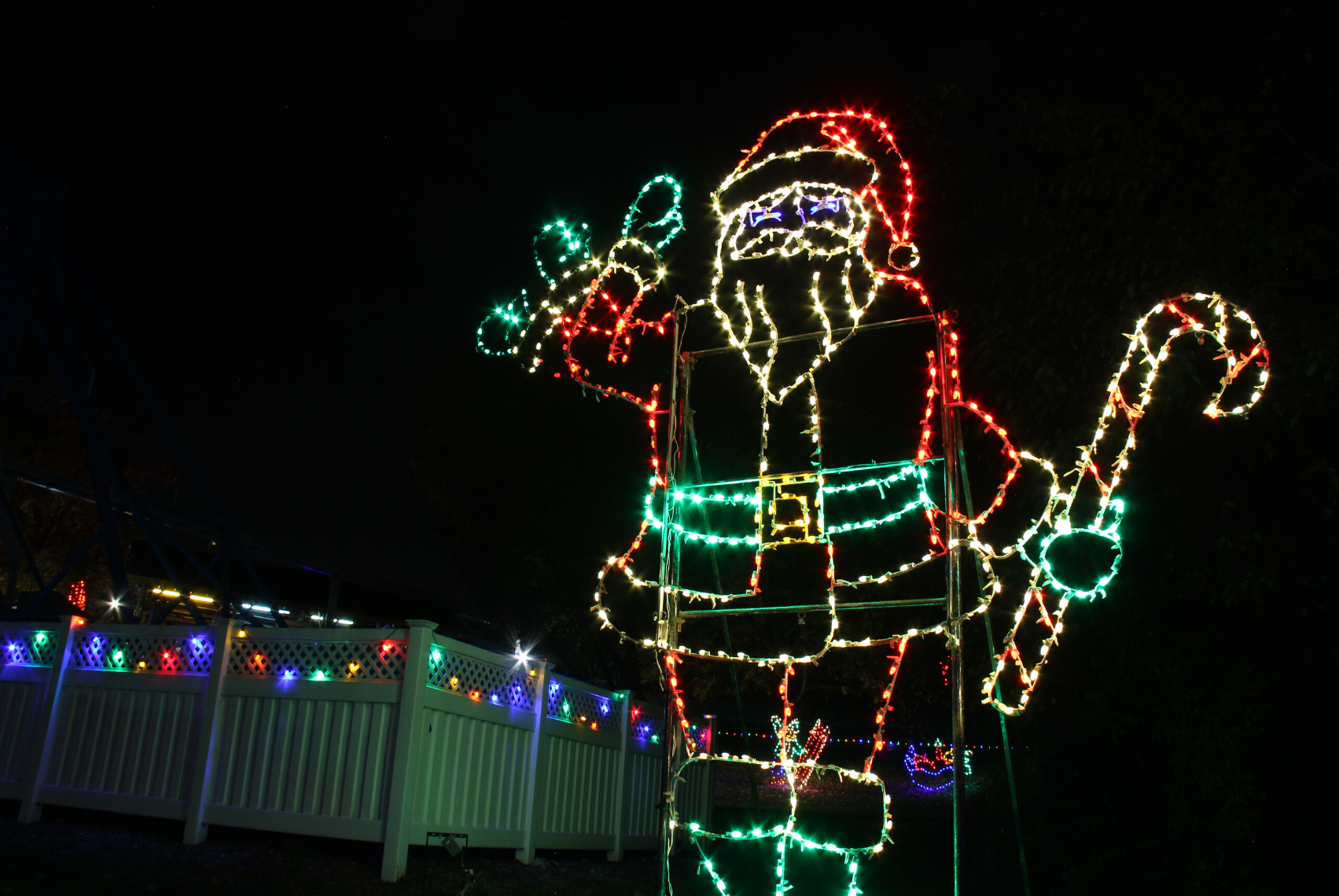 Santa made of holiday lights