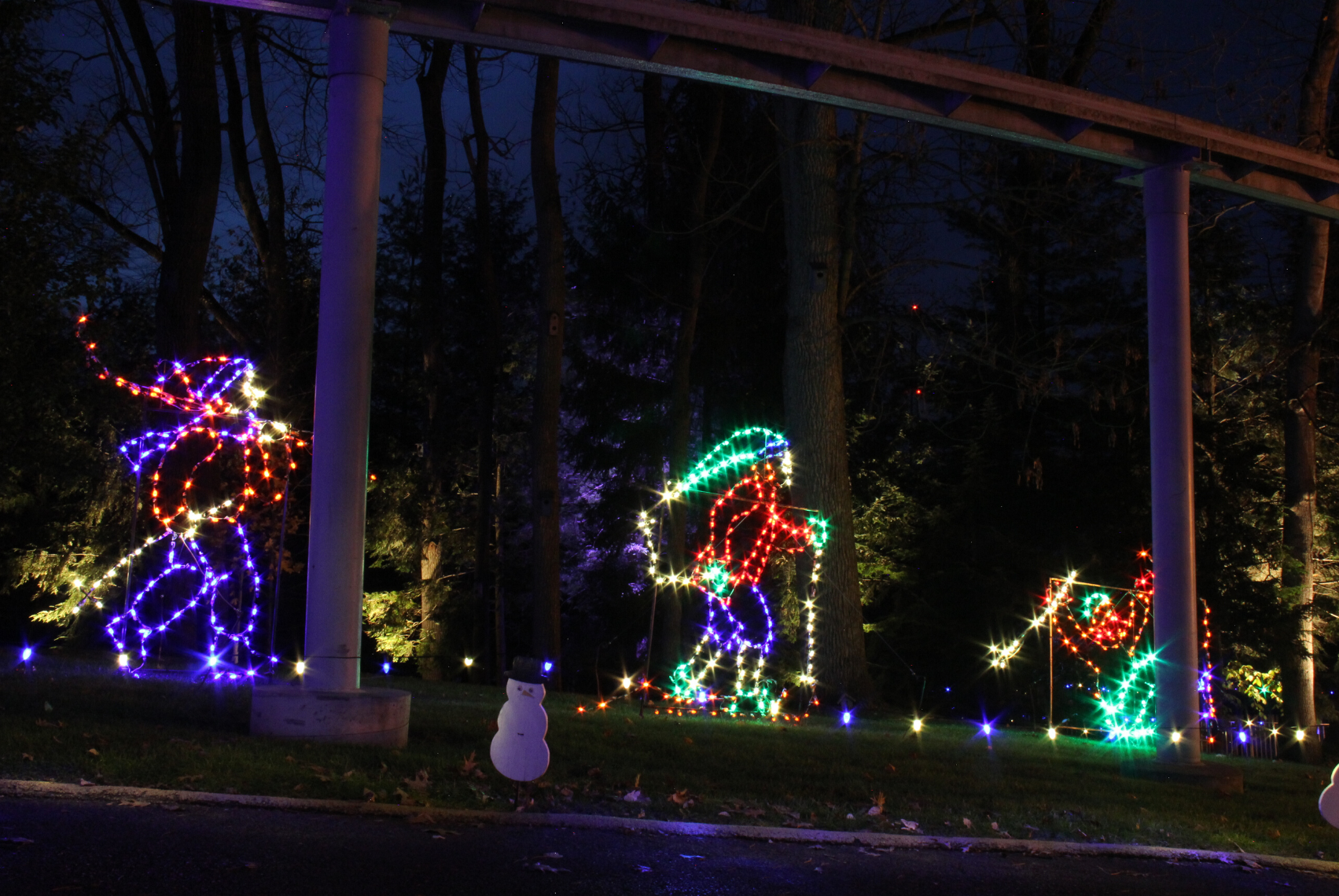 People skiing decorations made of holiday lights