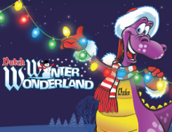 Duke wearing a Santa hat and scarf hanging holiday lights. Dutch Winter Wonderland logo next to him