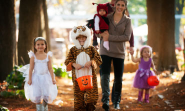 Trick or Treaters with Mom