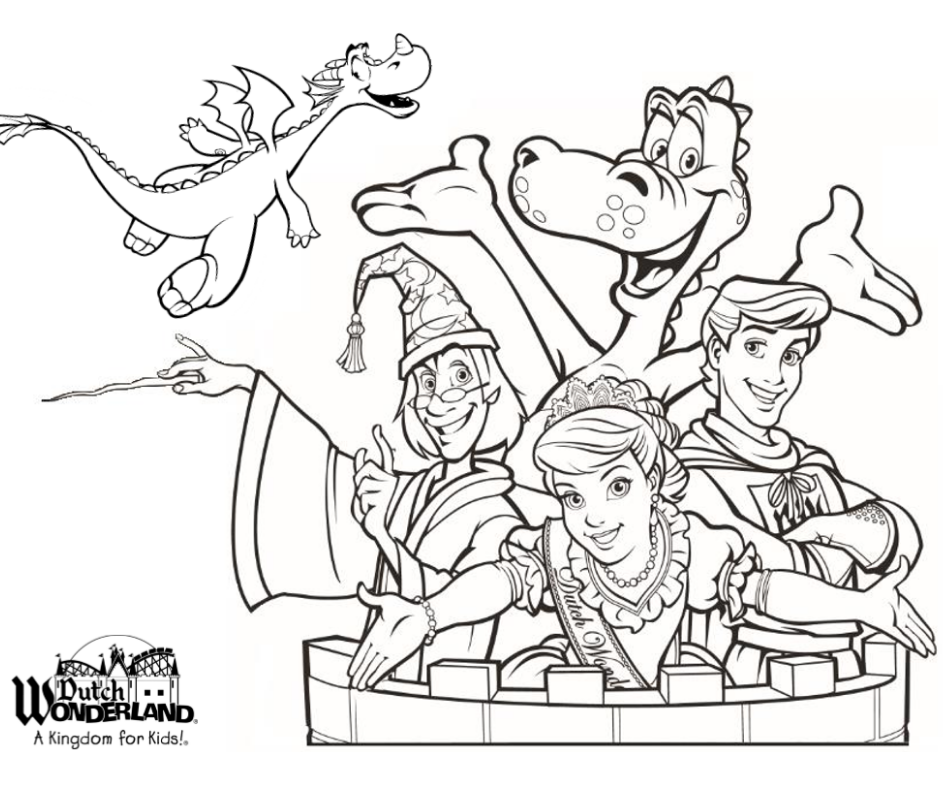 Duke, Brooke, Merlin, Brandon, and Mayhem coloring sheet