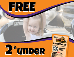 Free text overlaying little girl with her hands up laughing on a ride