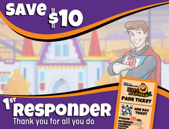 Save $10 message with castle and park ticket image