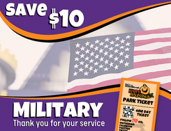 Save $10 message with American flag and park ticket