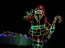 Christmas lights in the shape of Santa