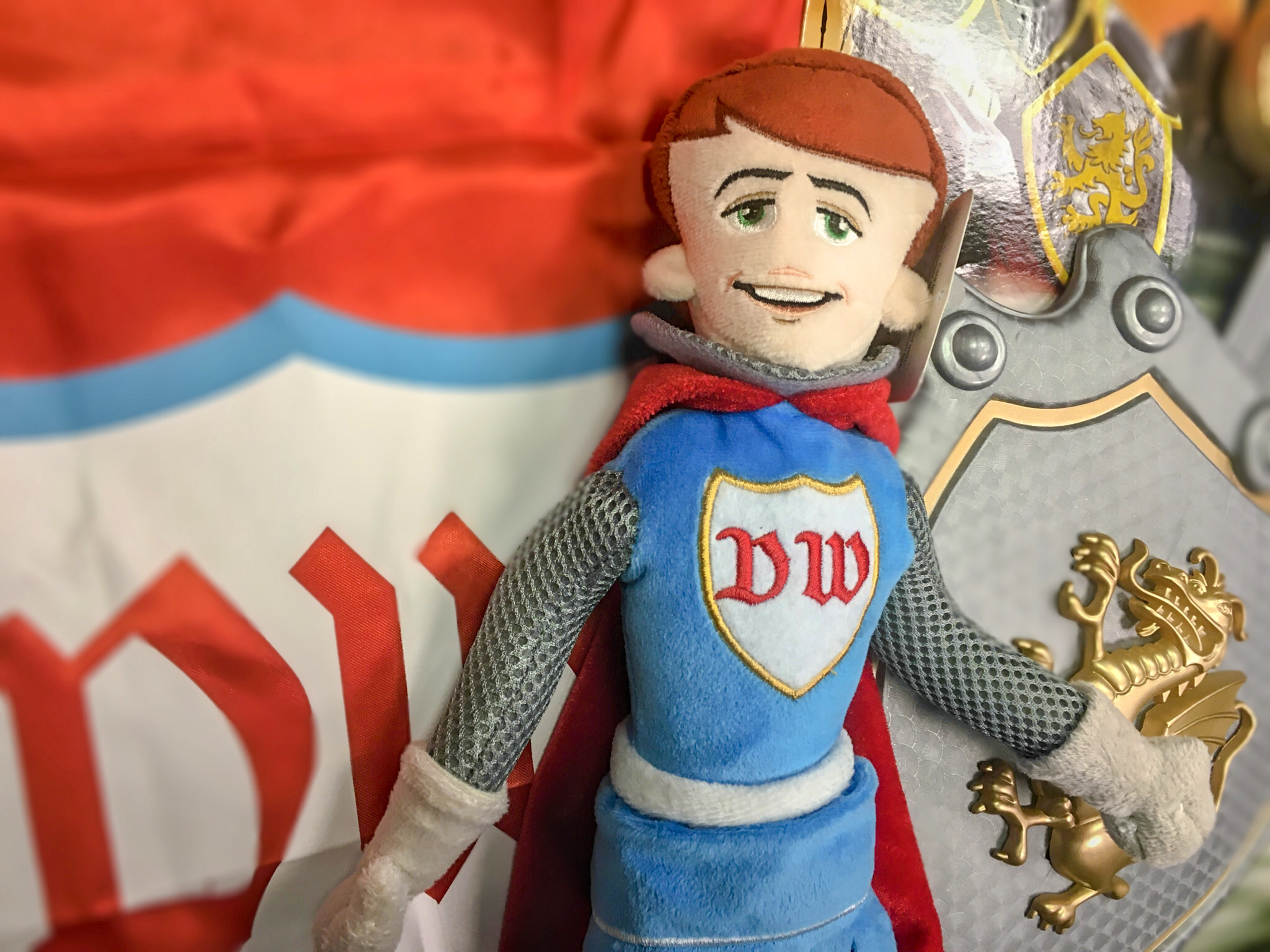 DW Knight plush toy with cape and shield toys