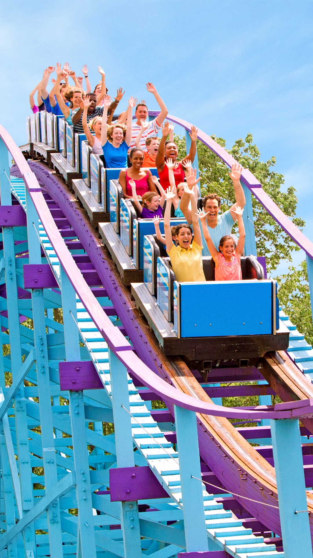 Families riding large blue and purple wooden roller coaster