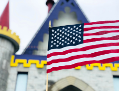 American flag in front of Castle Gift Shop